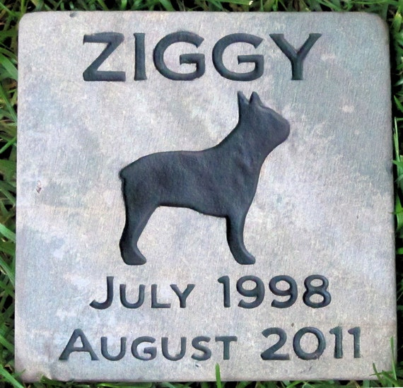 Personalized Pet Dog Memorial Gravestone Boston Terrier & Other Breeds Memorial Burial Stone Maker 6 x 6 Inches
