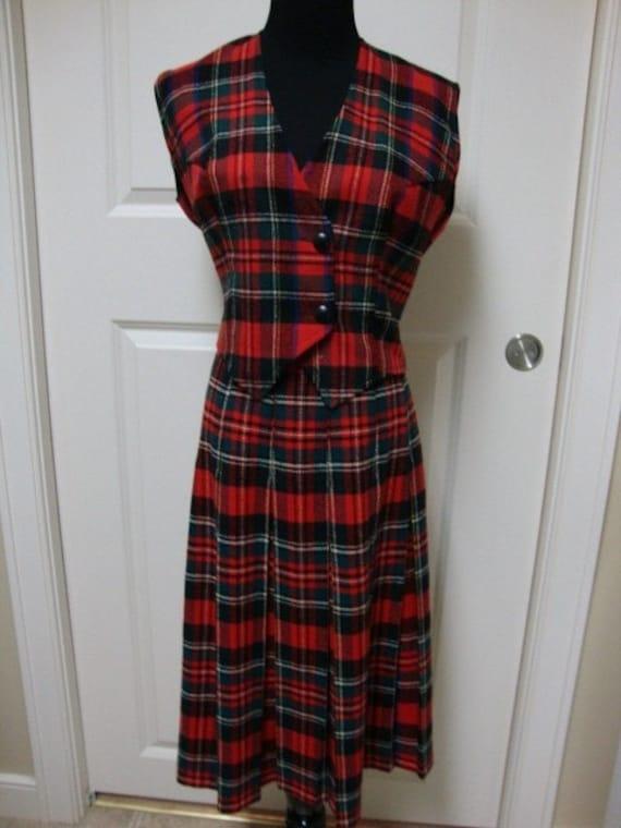 Vintage  Plaid Vest and Skirt Set