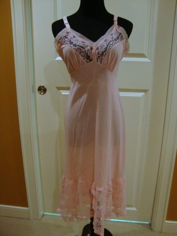 Vintage Pink Slip with Lace
