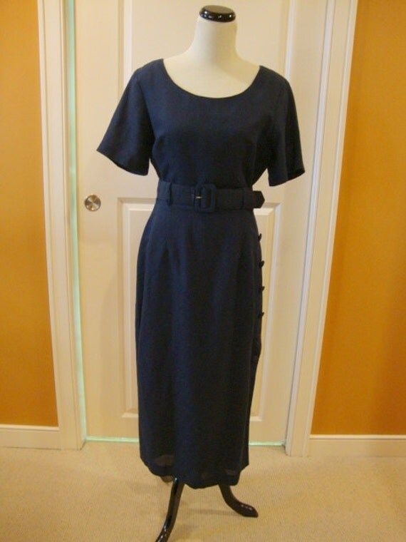 Vintage Dark Blue Linen Sheath