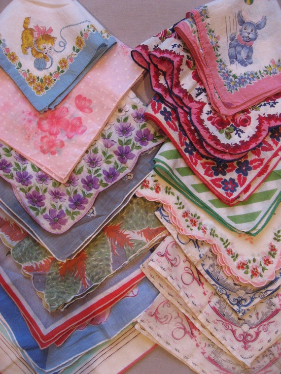 Dishfunctional Designs: Vintage Handkerchiefs Scarves