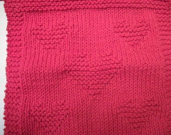 Knitted Wash Cloth - Red Hearts
