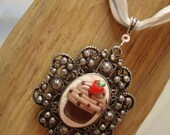 Chocolate Cupcake with Strawberry Necklace