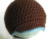 Crochet Newborn Newsboy, Crochet Baby Boy Hat, Photo Prop, Photography Prop, Crochet Brimmed Hat