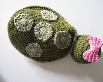 Newborn Turtle Photography prop with detachable bow, Crochet Newborn Photography Prop, Photography Prop