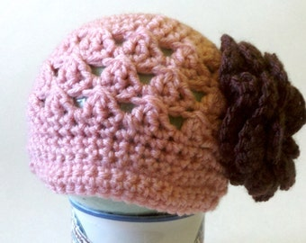 Childrens Hat, Crocheted Baby Girl Hat, Crochet Newsboy Hat, Crochet Hat with Flower, Rose, Photography Prop, Baby girl