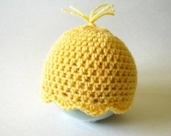 Crochet Baby hat, infant hat, Baby girl hat, Baby boy hat, Crocheted Duckie Hat, Crocheted Yellow Hat, Photography Prop, Newborn to 3 months