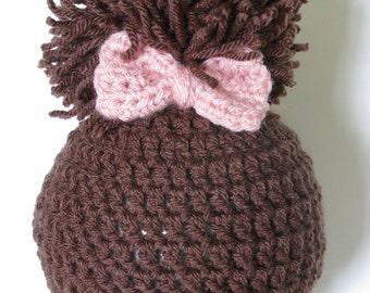 Crochet Baby Girl Hat, Newborn Hat, Crochet Hat, Crochet Newborn Baby Girl Pom Pom Hat, Crochet Newborn Photography Prop