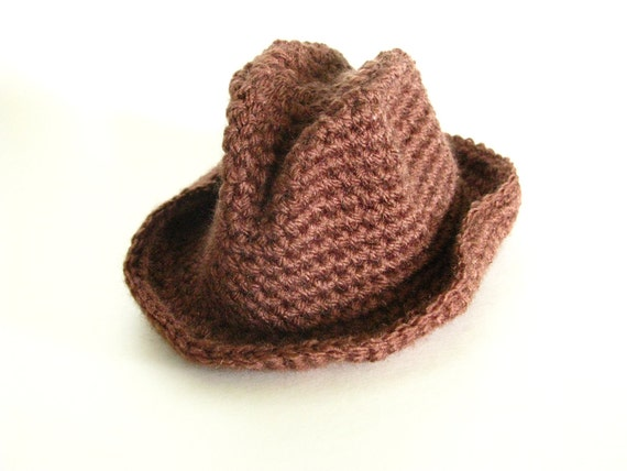 Crochet Newborn Cowboy Hat, Cowboy Photography Prop, Cowgirl Hat, Photo Prop, 0 to 3 months, Crochet Fedora Hat, Crochet Baby Boy Hat