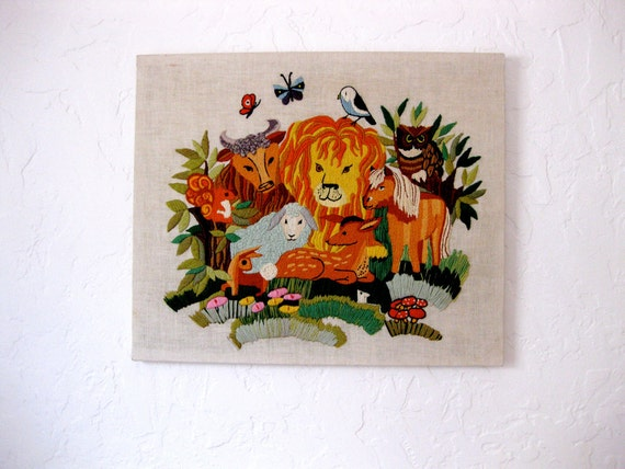 Vintage s animal kingdom crewel embroidery