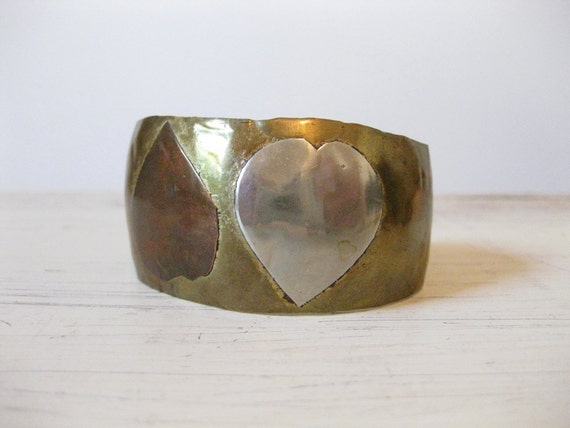 twin hearts // vintage copper and brass cuff