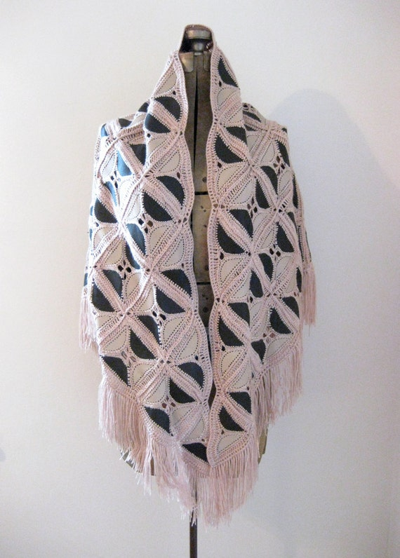 patchwork shawl // brown and taupe leather // crochet shawl