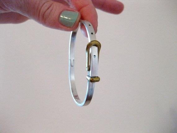 vintage sterling silver and brass buckle bracelet