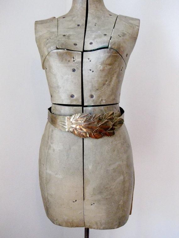 Grace Jones //  vintage brass 80s waist statement belt
