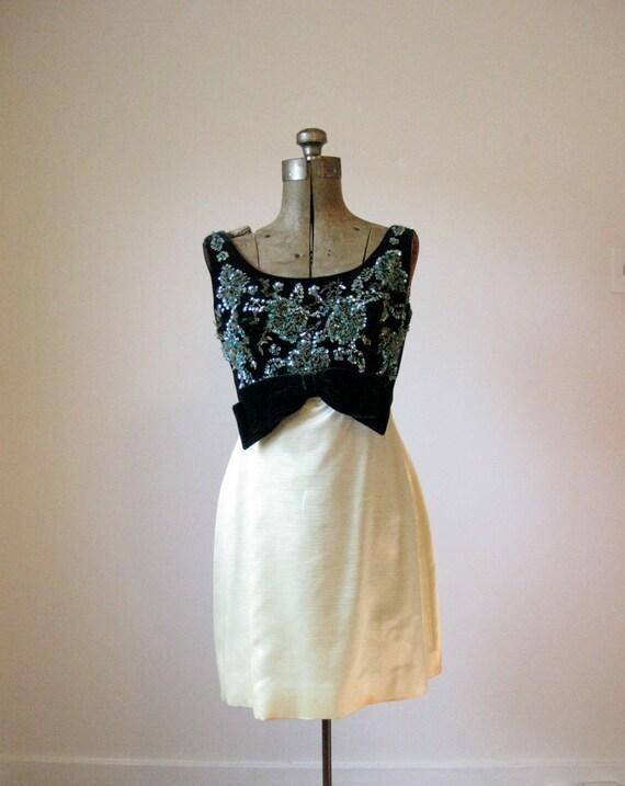 60s beaded velvet satin cocktail dress // small