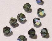 Swarovski crystal beads 4mm BICONE 5301 dark green crystal beads TURMALINE AB -- 25 pieces