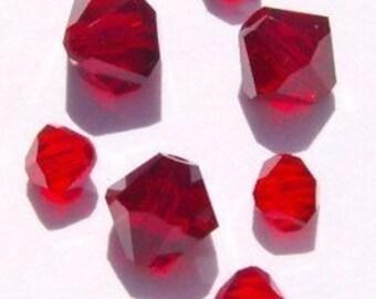 24 Swarovski 4/6mm BICONE Crystal Beads RED MIX
