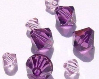 24 Swarovski Crystal Beads 4/6mm BICONE 5328 Crystal Bead PURPLE MIX