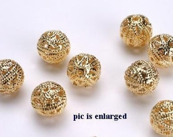 6mm Gold Plated Ornate Filigree Round Beads 50 pieces
