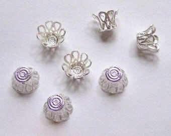 100 Silver Plated (bright) Filigree Basket Beads Caps 6mm