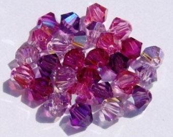 60 Swarovski crystal beads -- 4 Different Colors -- Swarovski 4mm BICONE Crystal Beads  MIX 102AB