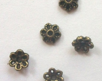 100 Antique Bronze Flower Bead Caps 6mm -- ANTIQUE BRONZE jewelry findings  B-102