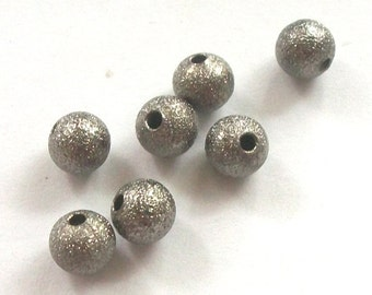 Clearance -- GUNMETAL Stardust Spacer 6mm  Round Beads 25 pieces