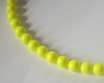Swarovski neon pearls crystal faux PEARL beads -- NEON YELLOW  -- Available in 4mm and 6mm