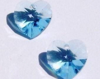 2 Swarovski Crystal Pendants10mm crystal HEART Pendants Style 6428 AQUAMARINE