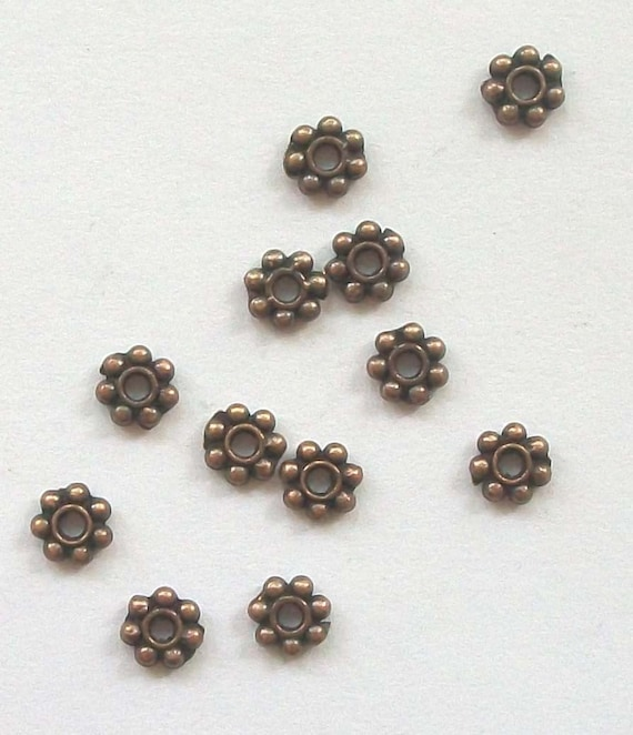 100 ANTIQUE COPPER Daisy Spacers 4mm jewelry findings