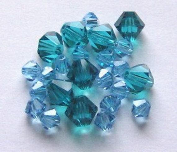 28 Swarovski Crystal Beads 4/6mm Bicone 5328 Crystal Beads AQUAMARINE/BLUE ZIRCON