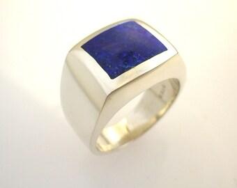 Mens Square Lapis Ring
