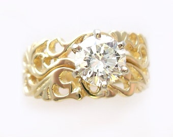 Filigree Style Wedding Set in Gold with CZ