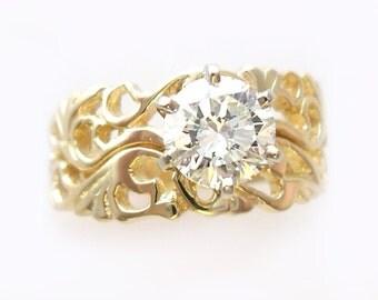 Filigree Style Wedding Set in Gold (mounting)