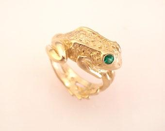 14K Gold Frog Ring