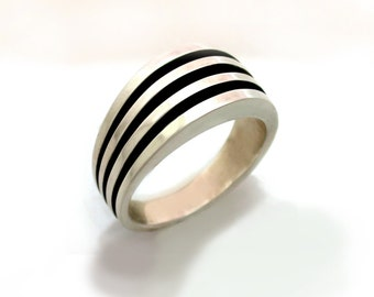 Mens Heavy  Sterling Silver Ring