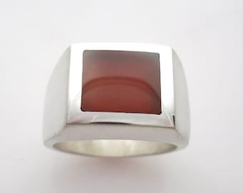 Mens Heavy Carnelian Agate Ring in Sterling Silver