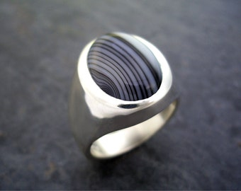 Mens Heavy Oval Black Lace Agate Ring in Solid Sterling