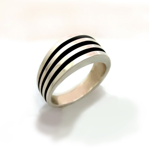 mens heavy sterling silver ring by dougpetersonjewelers on