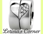 14K Gold His and Hers Heart Accented Wedding Bands with 0.16 ct Diamonds - 7MM - LC6010