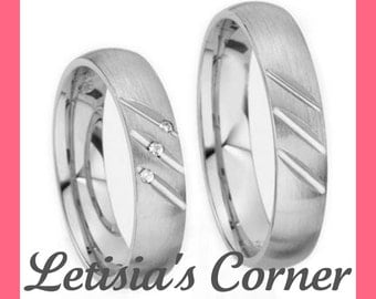 14K Gold Domed His and Hers Wedding Bands with 0.045 ct Diamonds - 5MM - LC1614