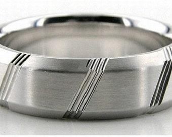 14K Gold Wedding Band Diamond Cut - 6MM - LC1191