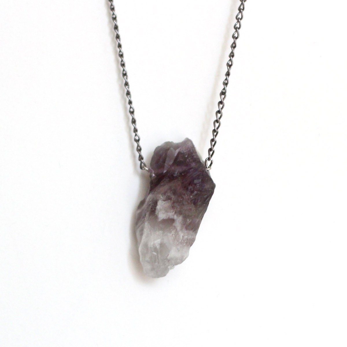 Rough Natural Amethyst Gemstone Necklace by ofmatter on EtsyUnpolished Sapphire Necklace
