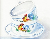 Watercolor Kitchen Art Painting--Italian Cups--Kitchen Decor. Watercolor painting.