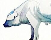 Art Print of Original Watercolor Painting--Piggy--animal painting, custom pet portrait, watercolor art, PIG art, watercolor pig