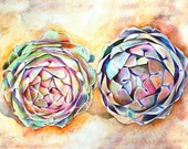 Art Print of Original Watercolor Painting--Artichokes--Food Kitchen Decor, free shipping