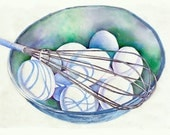 Watercolor Kitchen Art Painting--Fresh Eggs--Food Kitchen Decor, bowl of eggs, stillife watercolor painting
