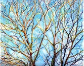 Art Print of Original Watercolor Painting--Branches in Maine (spring) 2--Landscape Nature, trees, free shipping