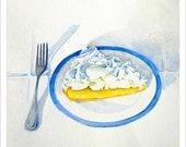 "Watercolor painting, kitchen ART print ""Lemon Pie"" print from original watercolor, food art"
