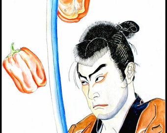 "Watercolor Painting, Kitchen Art Print--Food Art ""Samurai Chef"" watercolor art,"